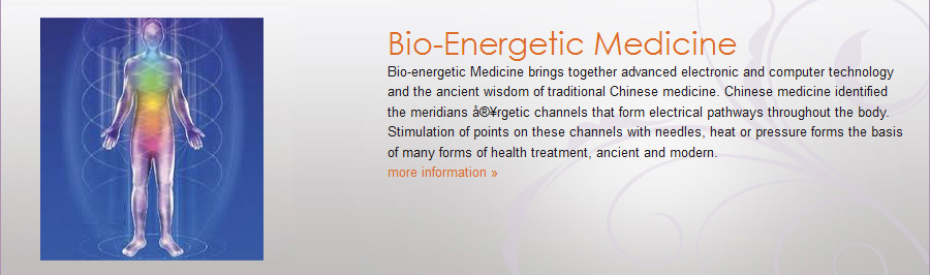 Bio-energetic Medicine brings together advanced electronic and computer technology and the ancient wisdom of traditional Chinese medicine. Chinese medicine identified the meridians 宥rgetic channels that form electrical pathways throughout the body. Stimulation of points on these channels with needles, heat or pressure forms the basis of many forms of health treatment, ancient and modern.